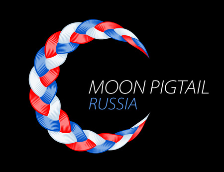 Colorful pigtail russian flag. Beautiful hair curly wavy swirl. Color flow detailed wave isolated. Blue and purple lines plaited in pigtail. Vector illustration for print or web design. Ilustrace
