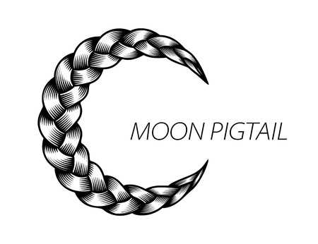 Pigtail moon symbol. Simple black beautiful hair curly wavy. Swirl flow detailed wave. Isolated lines plaited in pigtail. Vector illustration for print or web design.