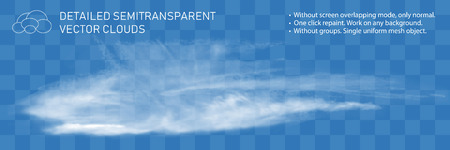 Fountain clouds. Realistic transparent vector illustration. Light decoration for pattern. Detailed natural steam texture. Gorizontal flow wind isolated. Real mesh grid technology.