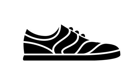 Icono de zapatos para correr. Ilustración simple de fitness y deporte, zapato de gimnasia. Gráficos de tienda de señal vectorial sobre fondo blanco.