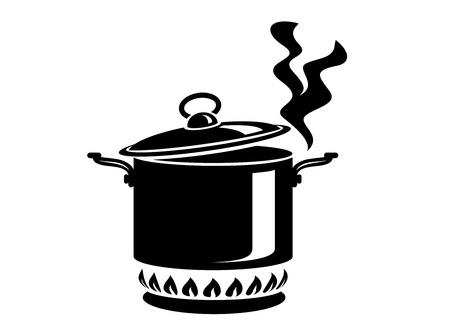 Pentola di cottura con l'icona di vapore. Logo in stile semplice con processo di cucina. Odore gustoso dalla stufa del capo. Calda comodità e cibo gustoso. Illustrazione vettoriale di primo piatto da star di alta cucina. Logo