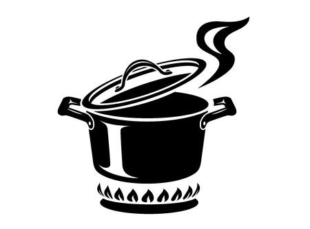Casserole de cuisson avec icône de vapeur. Logo dans un style simple avec processus de cuisine. Odeur savoureuse du poêle du chef. Confort chaleureux et nourriture savoureuse. Illustration vectorielle du premier cours de la star de la haute cuisine.