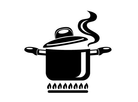 Pentola di cottura con l'icona di vapore. Logo in stile semplice con processo di cucina. Odore gustoso dalla stufa del capo. Calda comodità e cibo gustoso. Illustrazione vettoriale di primo piatto da star di alta cucina.