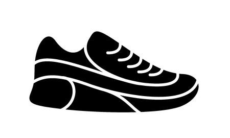 Icône de chaussures de course. Illustration simple de remise en forme et de sport, chaussure de gym. Graphiques de magasin de signe vectoriel sur fond blanc. Vecteurs