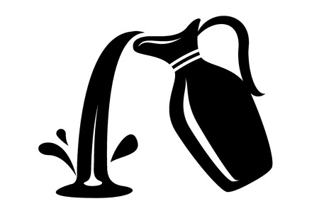 Jug pour out milk or water canister. Simple icon of pitcher logotype vector illustration for web or print design. Çizim