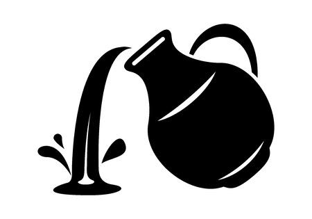 Jarra vierta leche o bote de agua. Icono simple de la ilustración de vector de logotipo de lanzador para diseño web o de impresión.