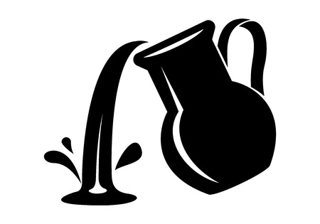 Jug pour out milk or water canister. Simple icon of pitcher logotype vector illustration for web or print design. Иллюстрация