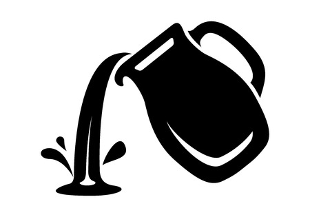 Jug pour out milk or water canister. Simple icon of pitcher logotype vector illustration for web or print design. 矢量图像