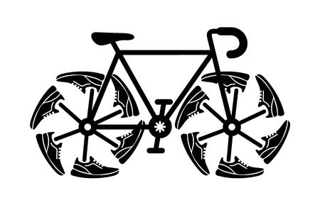 Running shoes on bike wheel icon. Original speed . Simple illustration of fitness and sport, gym shoe. Vector sign shop graphics on white background.