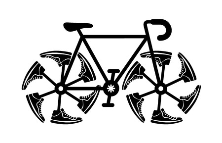 Running shoes on bike wheel icon. Original speed logo. Simple illustration of fitness and sport, gym shoe. Vector sign shop graphics on white background.  イラスト・ベクター素材