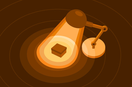 Table lamp in dark office. Flat illustration of light direct to box in surface. Vector banner isolated on brown background.