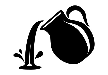 Jug pour out milk or water canister. Simple icon of pitcher logotype vector illustration for web or print design. Ilustrace