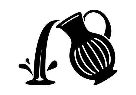 Jug pour out milk or water canister. Simple icon of pitcher logotype vector illustration for web or print design.