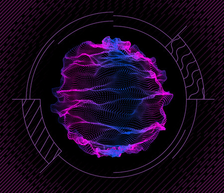 Dynamic particles wave from nodes. 3d sea flowing over dark. Array of colorful lights. Vector abstract globe background. Beautiful stream shapes by glowing dots.