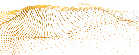 3d sea gold dots wave isolated stream on white background. Visualization flow from dynamic particles. Chain of nodes. Big data array surface sparkles. Beautiful vector deep abstract shapes.