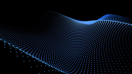 3d sea dots wave glowing stream. Flow from dynamic particles. Chain of nodes. Array surface isolated on black background. Colorful lights of intersections sparkles. Beautiful vector abstract shapes.