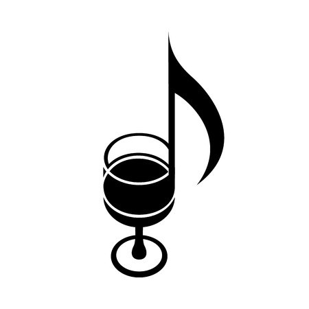 Wine glass as music note. Score of melody creative icon. Two notes play to taste symphony. Simple black icon of delicious drink idea for web or print design. Vector illustration of sommelier identity.