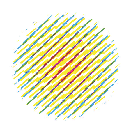 Striped object. Round abstract circle vector sign. Colorful painting brushstroke.