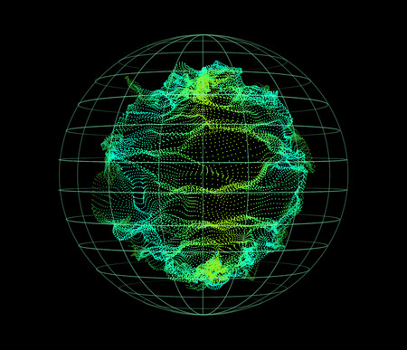 Sphere from dynamic particles wave from nodes. 3d sea flowing over dark. Array of colorful lights. Vector abstract globe grid background. Beautiful stream shapes by glowing dots.