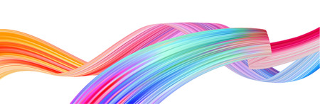 Colorful flow brushstroke. Ribbon isolated line.. Realistic volume wave. Liquid paint ink shape isolated on white background. Cover page for your design project. Real vector illustration swirl blur. Ilustração