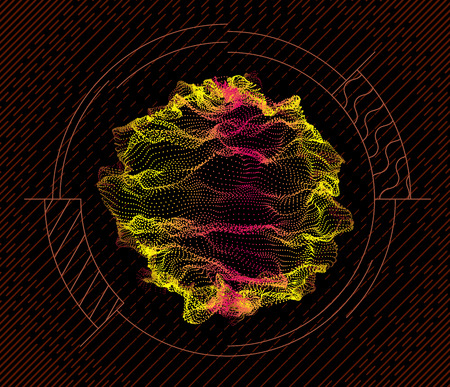 Sphere inside target from dynamic particles wave from nodes. 3d sea flowing over dark. Array of colorful lights. Vector abstract globe grid background. Beautiful stream infographic by glowing dots. Illustration