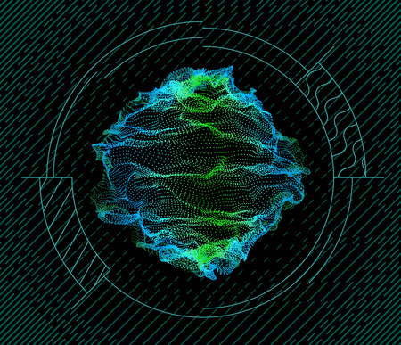 Sphere inside target from dynamic particles wave from nodes. 3d sea flowing over dark. Array of colorful lights. Vector abstract globe grid background. Beautiful stream infographic by glowing dots. Ilustração