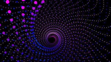 Vue de dessus tourbillonnant à partir de points dans la profondeur de la perspective. Structure de tableau de la mer 3d. Fond de technologie vectorielle. Entonnoir spatial infini coloré pour l'impression ou la conception Web.