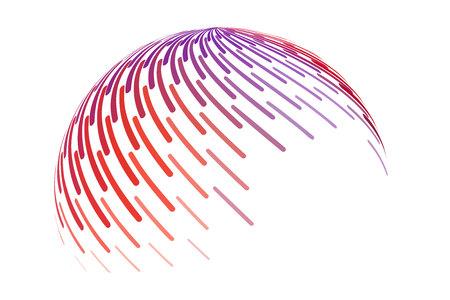 Objet rayé. Signe de vecteur de cercle abstrait 3d rond. Coup de pinceau de peinture colorée.