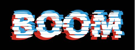 Boom Comic glitch text glitch effect Noise vector design comic font background. Çizim