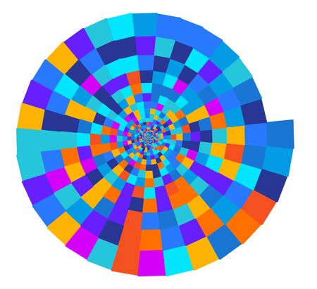 Geometric colorful pattern tile top spiral funnel Abstract geometric pattern from color rectangles. Stock Illustratie