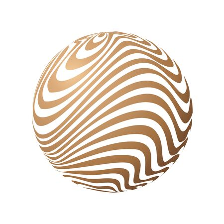 Striped Sphere. Vector 3d abstract background. Vector logo icon, Simple style.