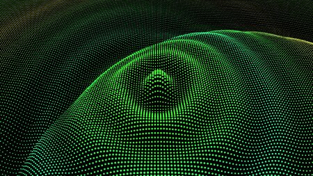 Particle 3D wavy ripple effect. Drip drop to surface. Background grid structure. Big data deep dance.