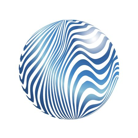 Striped Sphere. Vector 3d abstract background.