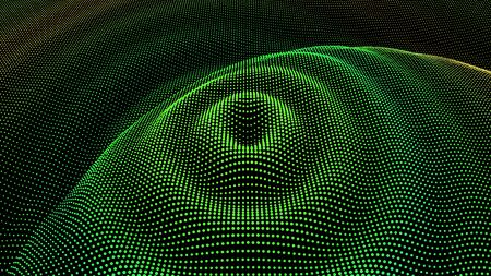 Particle dimension sound wave. Ripple effect from drip drop surface. Background grid structure. Big data flow calculation. Illusztráció