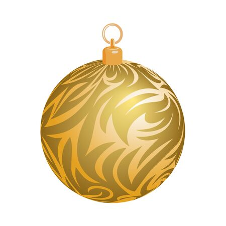 Christmas ball with frost texture isolated on white background. Vector illustration of detailed tracery weave. Gold grass surface.