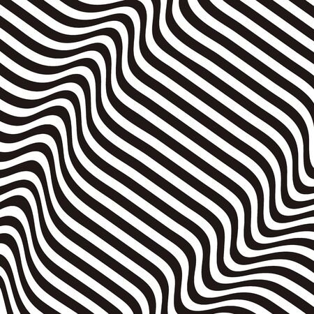 Striped background. Wave trough zebra black white lines. Vector texture illustration. Distortion volume effect on regular surface.