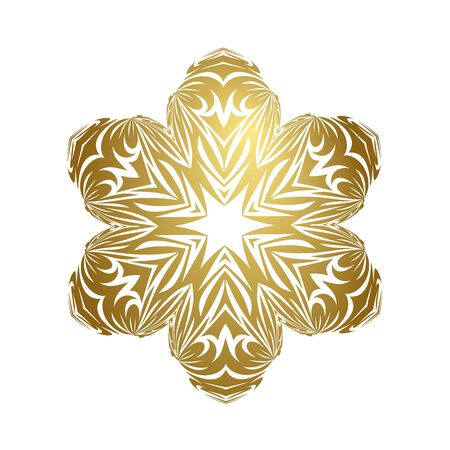 Merry christmas happy new year fancy gold winter snowflake. Vector shape ideal for card or elegant holiday party invitation.