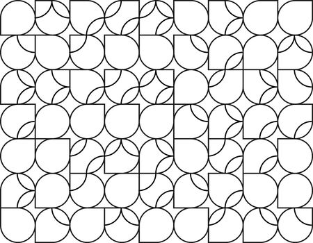 Seamless geometric black circle pattern. Camouflage tiles with rounded lines. Colorful summer background for print or web design. Ilustrace