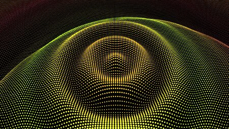 Circle ripple effect. Radial pulse surface dimensional wavy. Drip drop to data flow. Surface curl background. Grid structure as big data deep dynamic. Dot sea dance of information. Stock fotó - 137934954