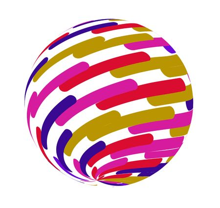 Striped object. Round 3d  abstract circle vector sign. Colorful painting brushstroke.