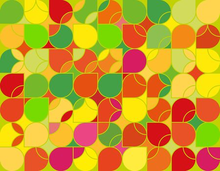 Seamless geometric green and yellow pattern. Camouflage tiles with rounded lines. Colorful summer background for print or web design.