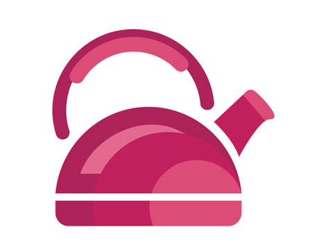 Teapot steel vector icon flat style. Pink kettle on isolated background. Warm comfort in your home. Vigorous start of the morning.