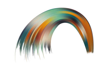 Distorted wave colorful texture. Abstract volume surface. Dynamic wavy strip warp. Transition and gradation of color illustration.