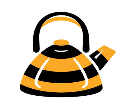 Teapot steel vector icon flat style. Black and yellow bee kettle on isolated background. Warm comfort in your home. Vigorous start of the morning.
