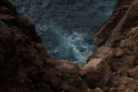 Ocean and Cliffs in the Portuguese Azores Banco de Imagens