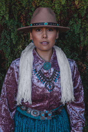 Native American Woman in Traditional Dress in Northern Arizona