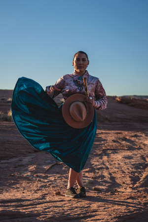 Native Woman with hat and traditional dress in Arizona