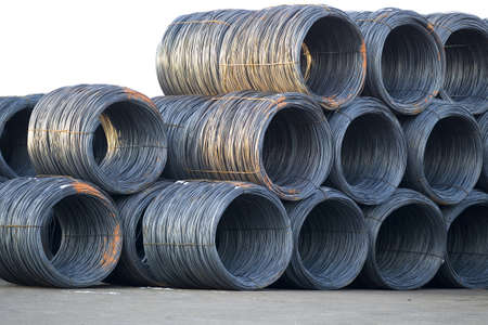 steel cable: Stack of shiny cable wire rolls keep at construction site Stock Photo