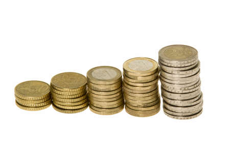 Stack of euro coins indicating growth and success isolated on white background