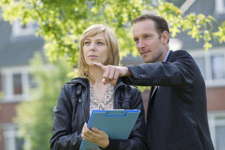 Business people discussing new project outdoors Stock Photo - 15451081
